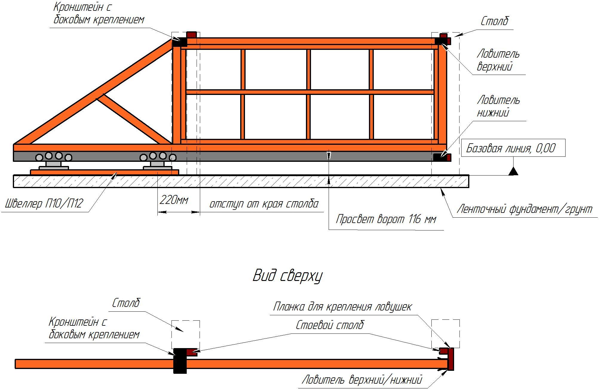 Откатные ворота своими руками : чертежи, схемы, эскизы конструкций 41